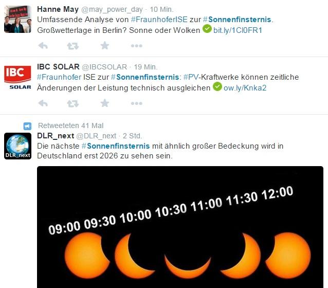Sonnenfinsternis, Energiewende aktuell
