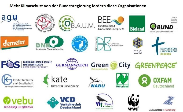 Organisationen, die mehr Klimaschutz fordern