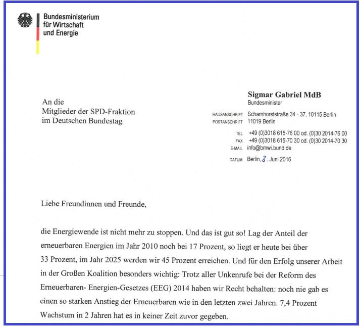 Auszug aus Sigmar Gabriels (Minister für Energie) Brief an die SPD-Fraktion wegen des EEGs.