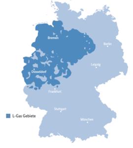 Die Karte zeigt die L-Gas-Gebiete in Deutschland