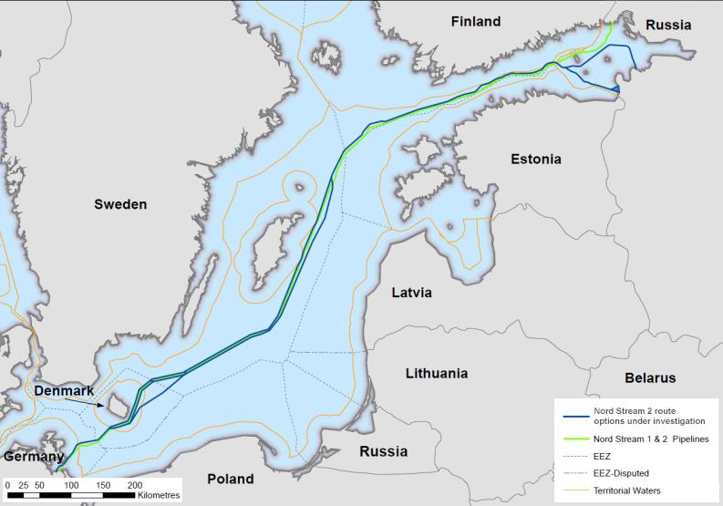 Mögliche Routen für Nord Stream 2 (Quelle Nord stream 2)