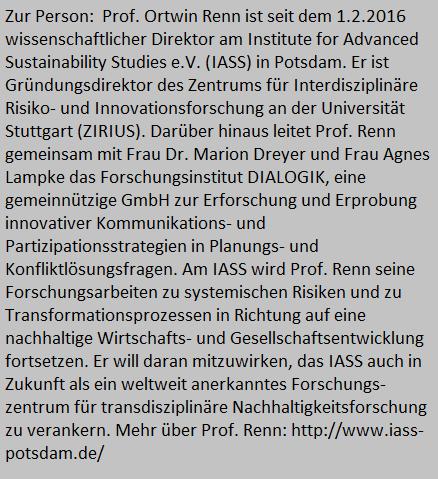 Der Leiter des IASS in Potsdam, Prof. Renn, sprach mit dem Blog über Akzeptanz und die Kommunikation der Energiewende.
