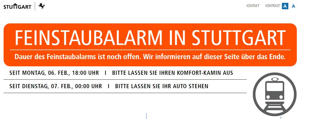Feinstaubalarm Stuttgart.