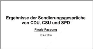 Riesenchance ? Die Ergebnisse der Sondierung von CDU, CSU und SPD