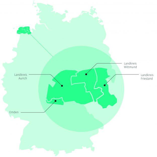 Die Modellregion enera ist eines von fünf Schaufenstern intelligente Energie in Deutschland. Darstellung: EWE